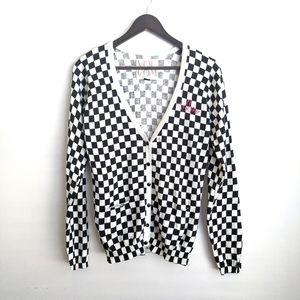 Volcom Vintage Black and White Checker Cardigan L